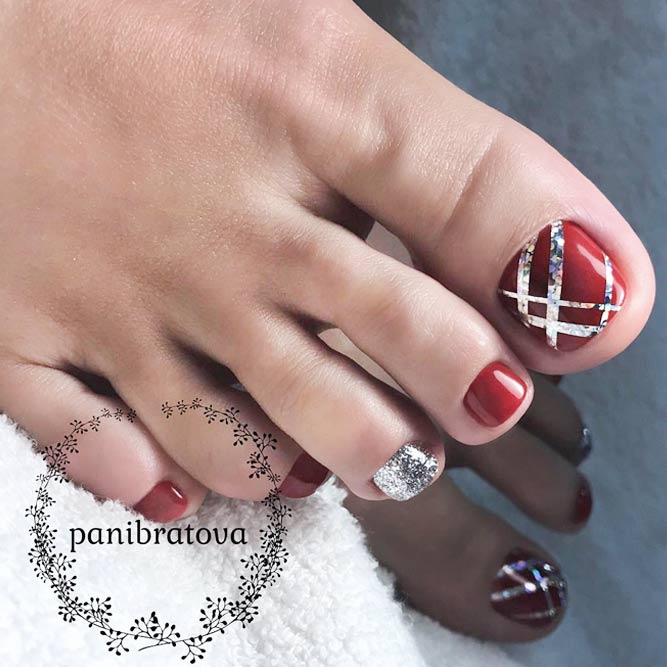 30 fun toe nail designs to go crazy over naildesignsjournal toe nail design with stripes picture 2 prinsesfo Gallery
