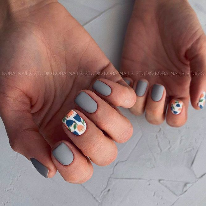 Matte Grey Nail Designs with Flower Art