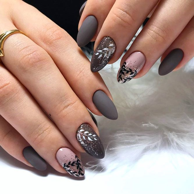 Matte Grey Nail Design With Glitter Ombre