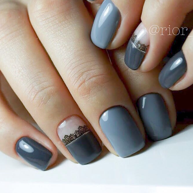 Grey Nails with Prints picture 3