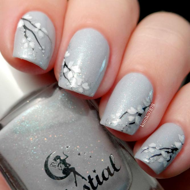 Grey Nails with Prints picture 1