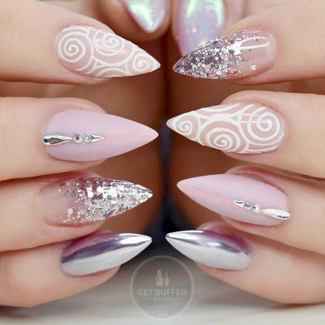 Funky Swirl Design For Pointy Nails #pointynails #swirlnails #stilettonails #glitternails #chromenails
