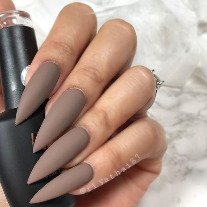 Luxurious Look – Matte Nude Nails Design - The Best Long Nails Shapes To Consider Today NailDesignsJournal