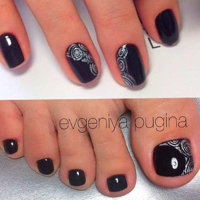 Abstracted Gliter Roses #glitternails #blacknails #flowersnailsl