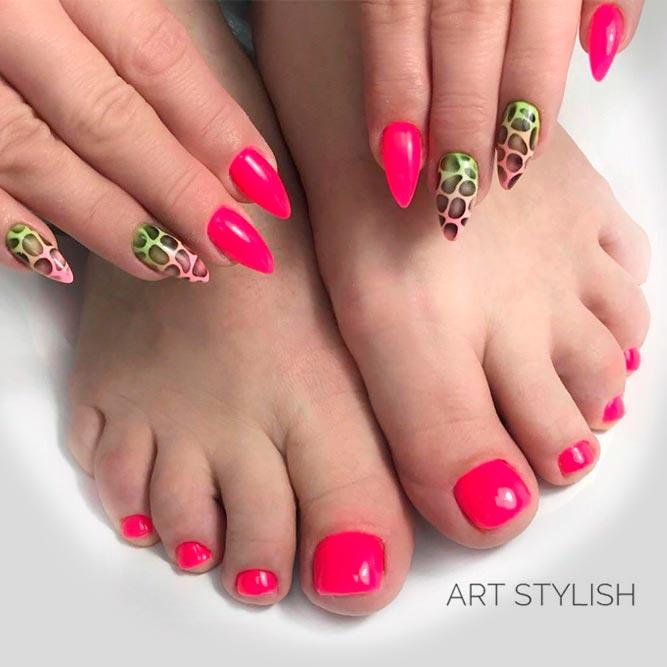 Leopard Ombre Nail Art #ombrenails #pinknails