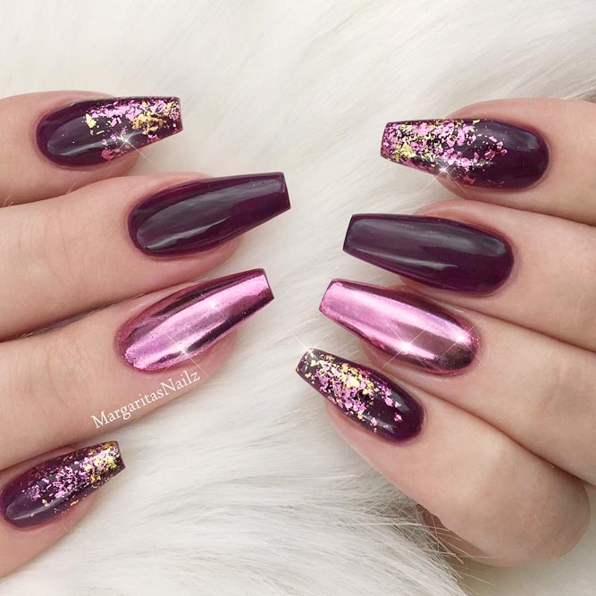 Maroon Nails With Chrome Accent picture 2