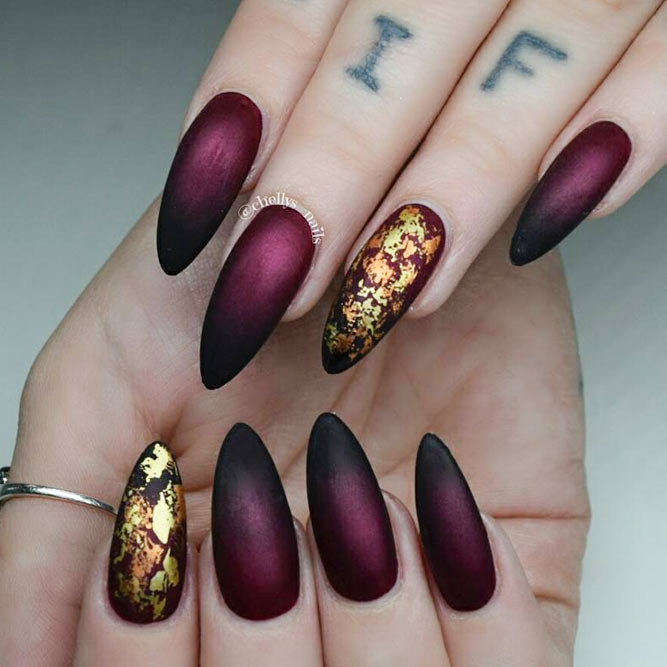 Fashionable Maroon Nails With Foil Designs Picture 2