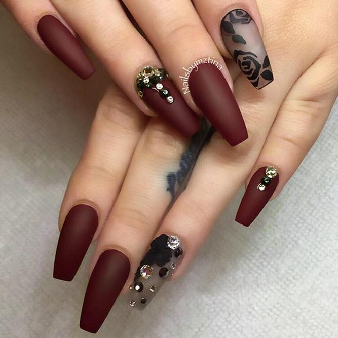 Maroon Nails With Hand Painted Art picture 3