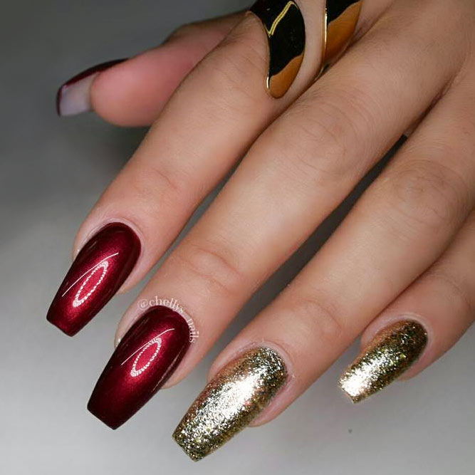 Maroon Nails With Gorgeous Golden Accents picture 3
