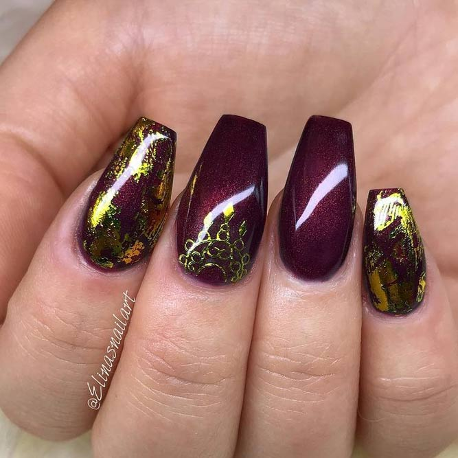 Fashionable Maroon Nails With Foil Designs picture 1
