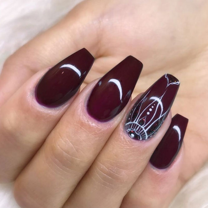 Maroon Nails With Hand Painted Art picture 2