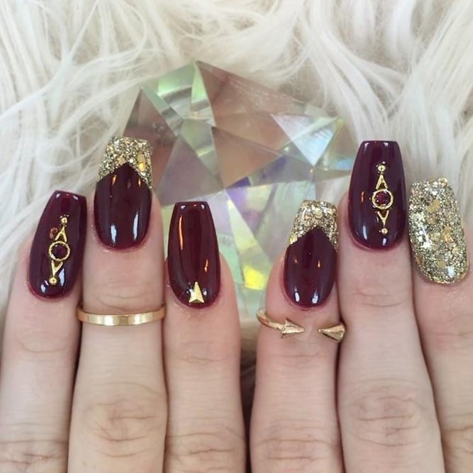 Pretty Maroon Nails With Gold Tips picture 2