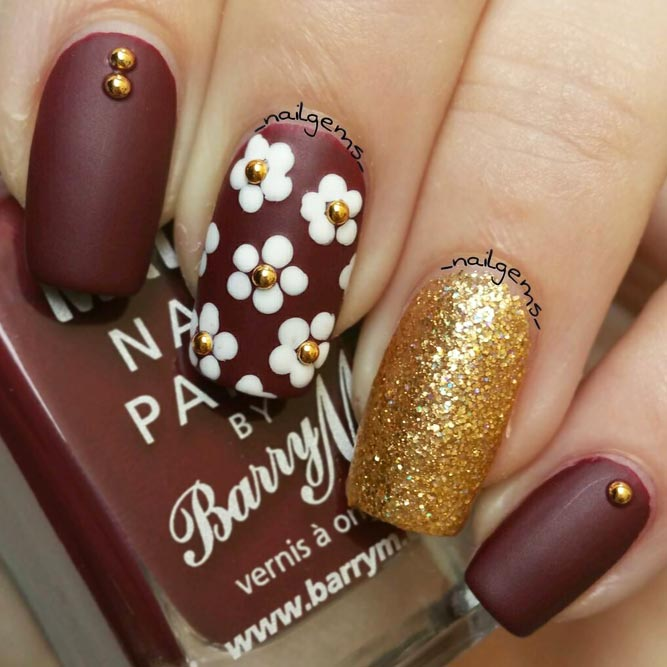 Maroon Nails With Gorgeous Golden Accents picture 2
