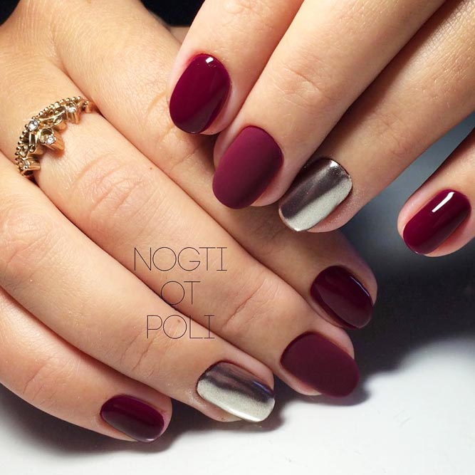 Maroon Nails With Chrome Accent picture 1