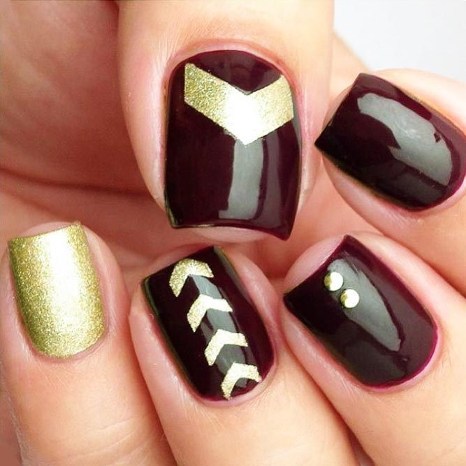 Maroon Nails With Chevron Nail Art Picture 1