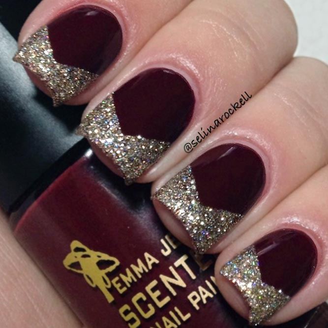 Pretty Maroon Nails With Gold Tips picture 1