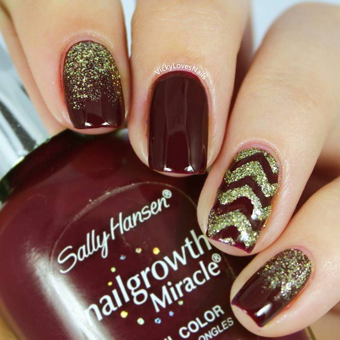Maroon Nails With Chevron Nail Art picture 2