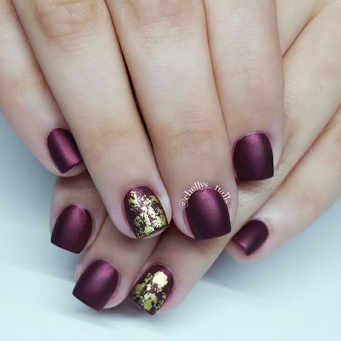 Fashionable Maroon Nails With Foil Designs picture 3