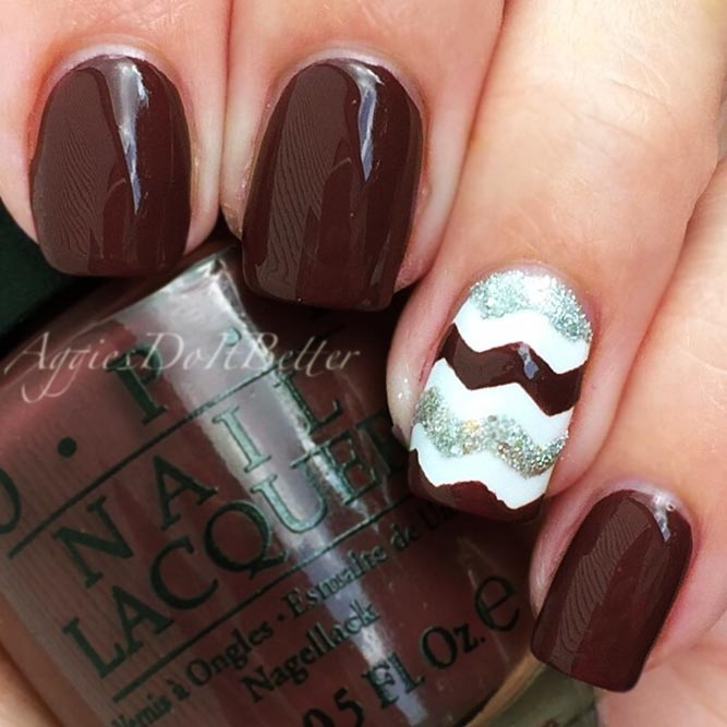 Maroon Nails With Chevron Nail Art picture 3