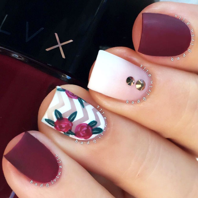 Feminine Tiny Flowers In Maroon Shades picture 2