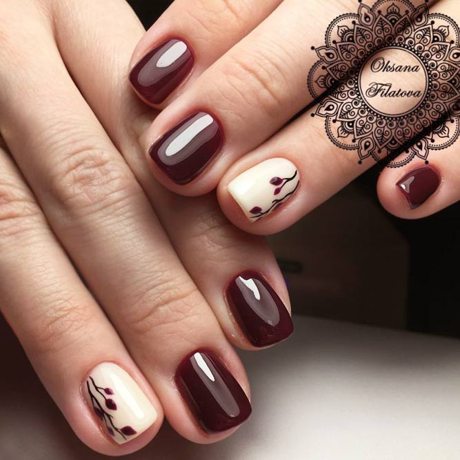 Feminine Tiny Flowers In Maroon Shades picture 1