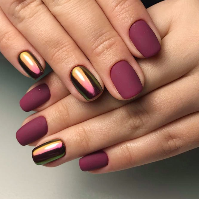 Maroon Nails With Chrome Accent picture 3
