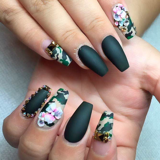 Glamorous Camouflage Nails Design picture 1