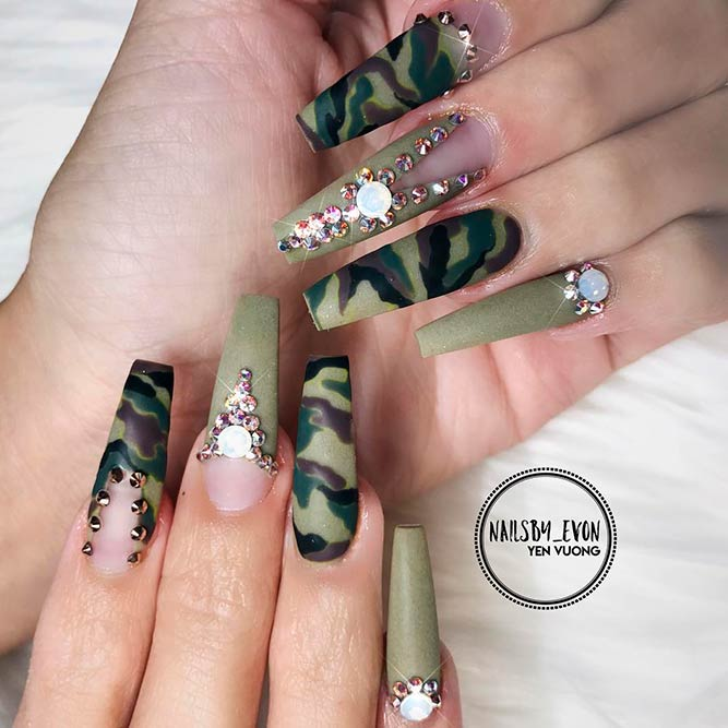 Glamorous Camouflage Nails Design picture 2 - Use The Incredible Power Of Camo Nails NailDesignsJournal
