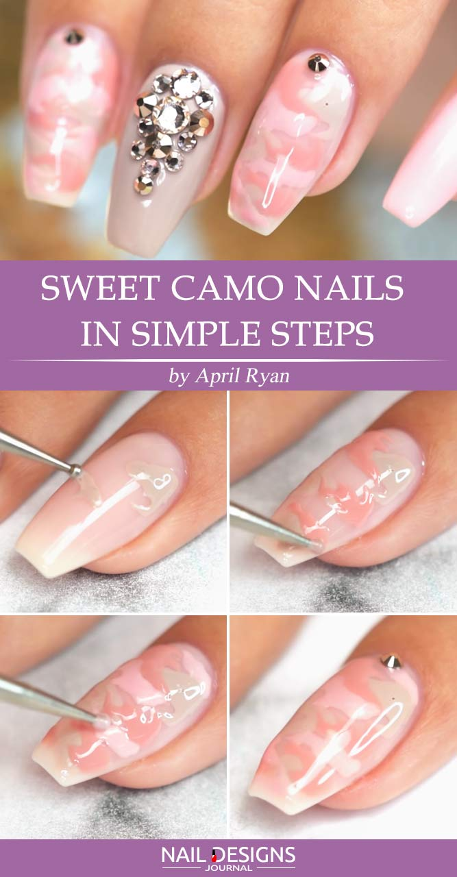 Sweet Pink Camo Nails In Simple Steps