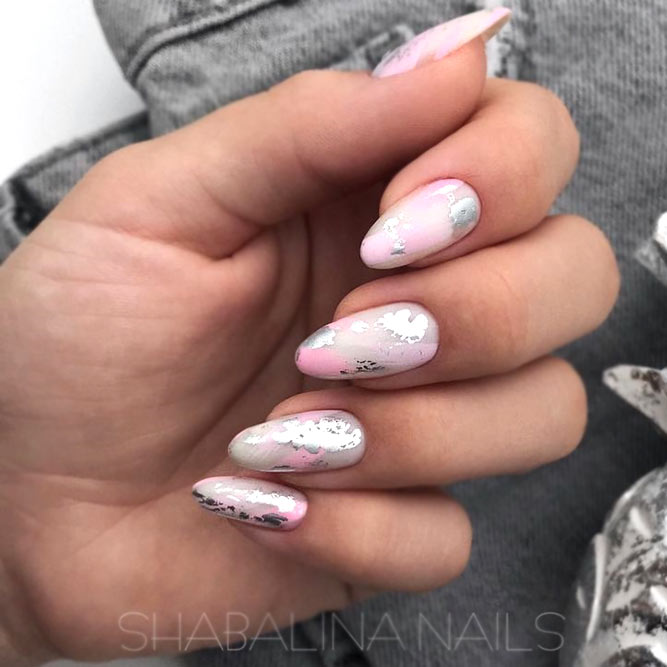 Delicate Nail Design In Pink And Silver