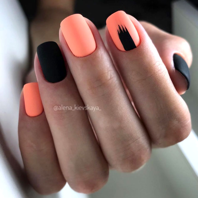 Orange Color Nails With Black Accent