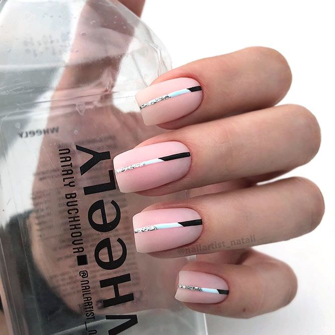 Nude Nails With Minimalistic Stripes