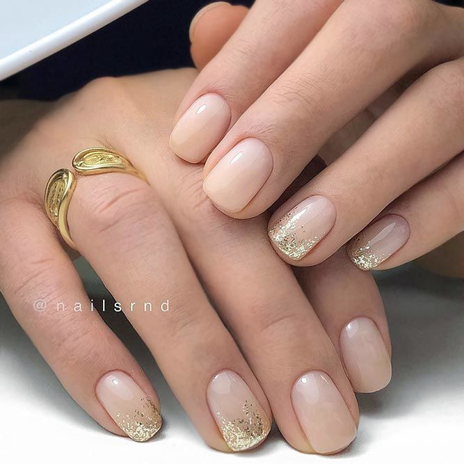 Natural Nails With Gold Glitter Accents