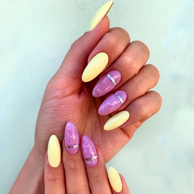 Sexy Marble Nails Art With Pastel Blue
