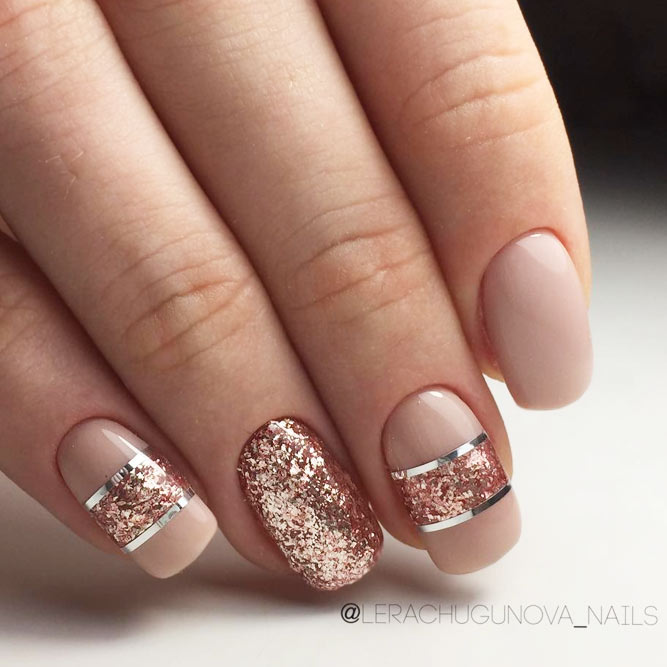 Pink Shades Nails With Glitter Accents