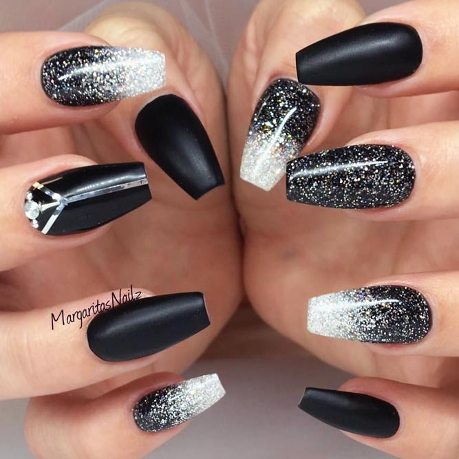 Matte Black Nails With Silver Sparkly Accents Picture 1