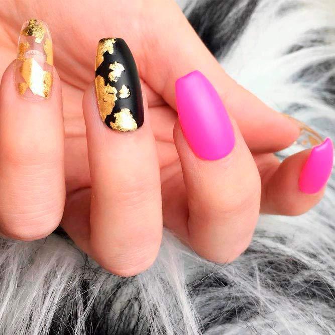 Matte Black Accented Finger #goldfoil #mattenails