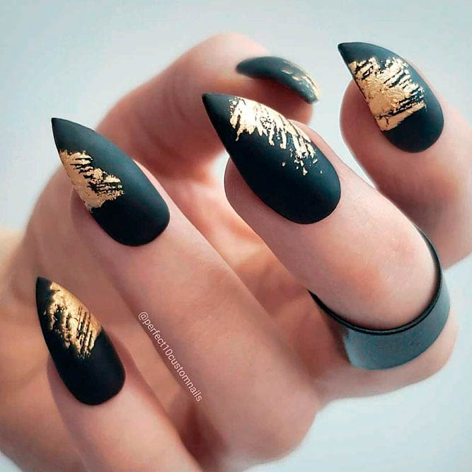 Matte Black Nails With Gold Foil #stilettonails #foilnails
