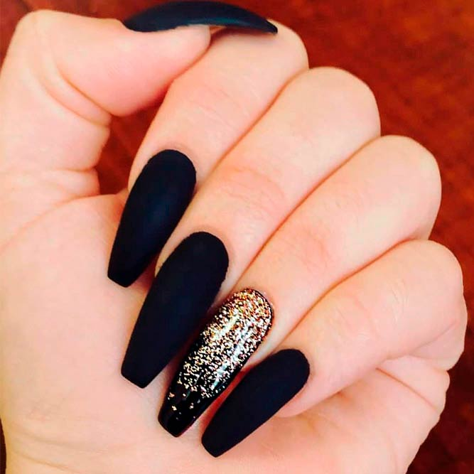 Matte Black Nails With Gold Glitter Ombre #glitternails #coffinnails