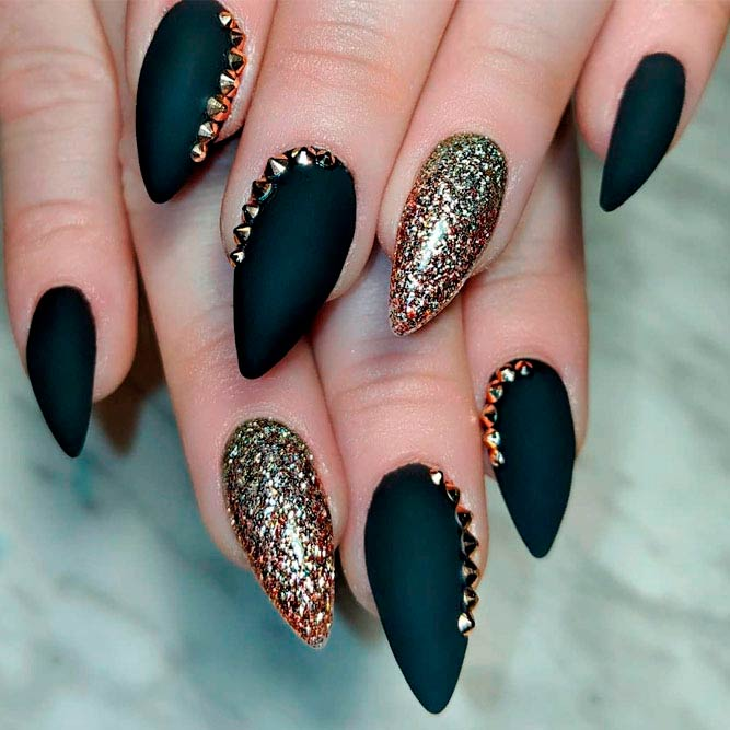 Matte Black Nails With Gold Rhinestones #goldglitternails #rhinestonesnails