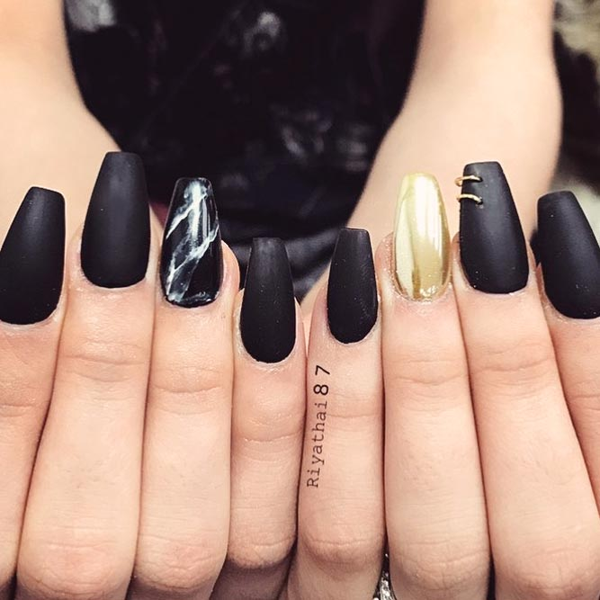 27 Fancy Ways To Rock Matte Black Nails Naildesignsjournal Com