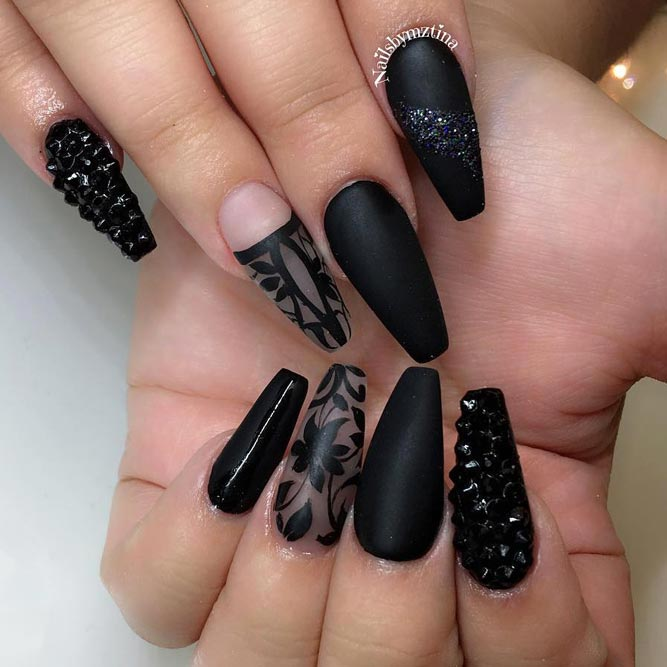 Matte Black And Dazzling Rhinestones picture 2