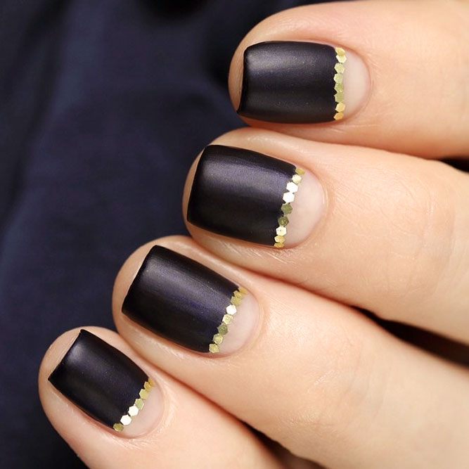 Matte Black Nails with Gold Sequins Designs picture 1