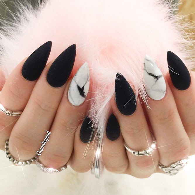 A Win Win Combination of Matte Black Nails and Marble Stone Design picture 3