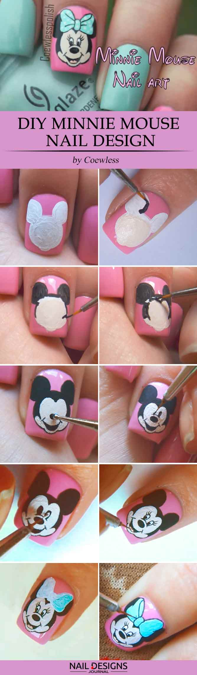 DIY Minnie Mouse Nail Design