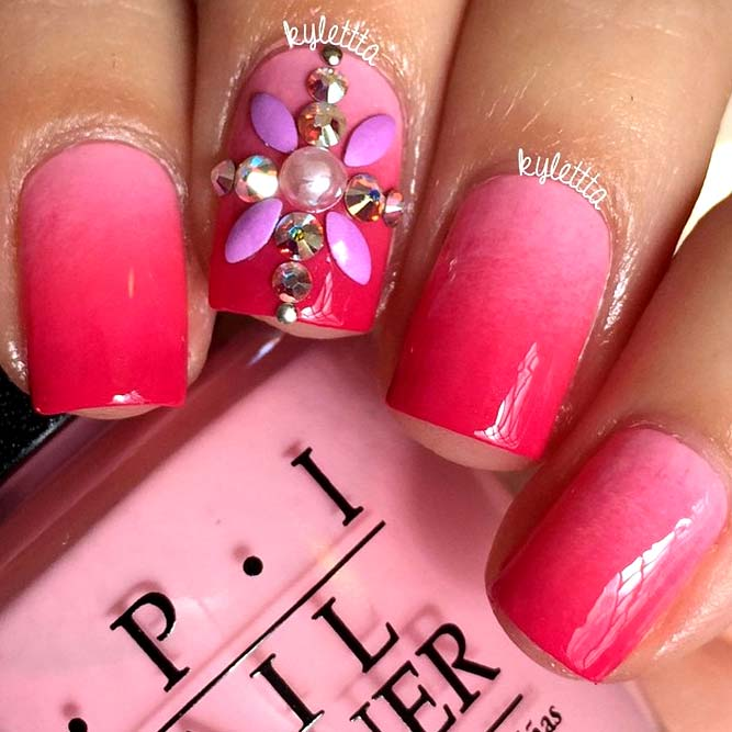 Hot Pink Nails with Glowing Rhinestones picture 2