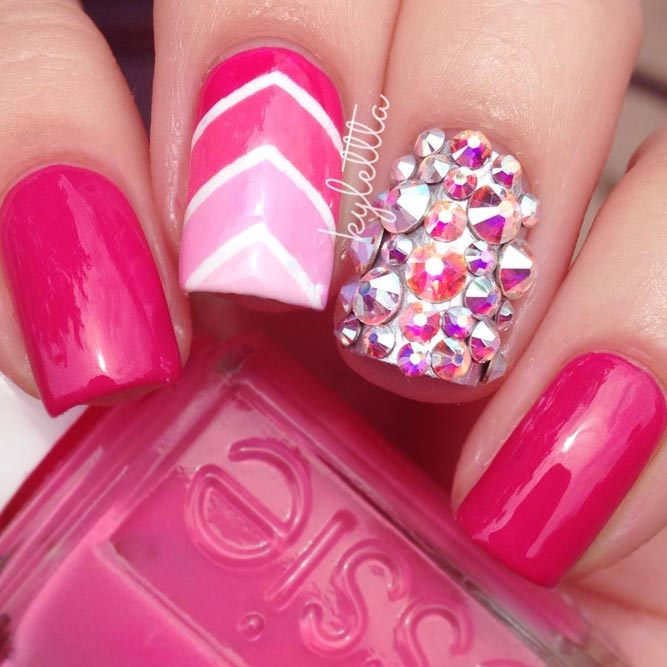 Hot Pink Nails with Glowing Rhinestones picture 3