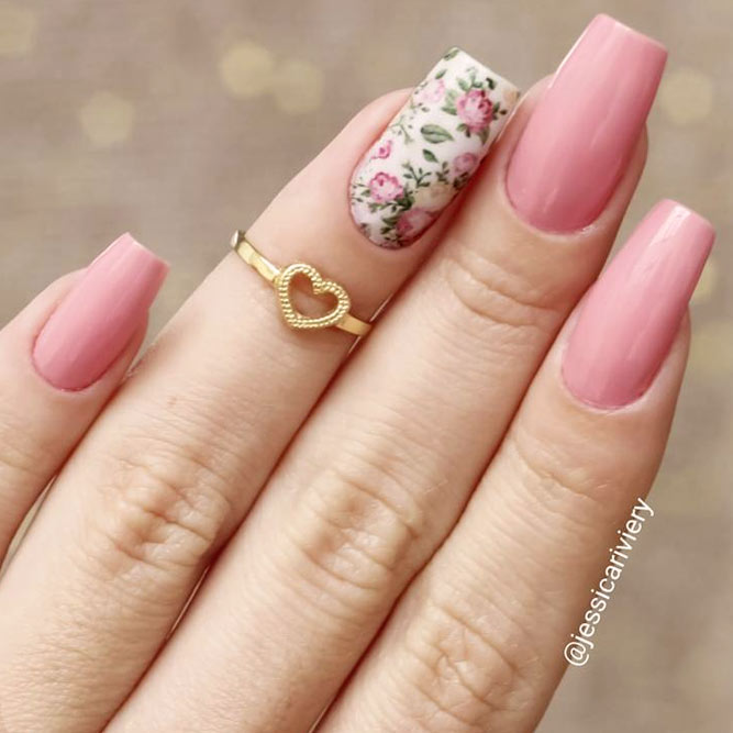 Pink Nails With Vintage Roses picture 2