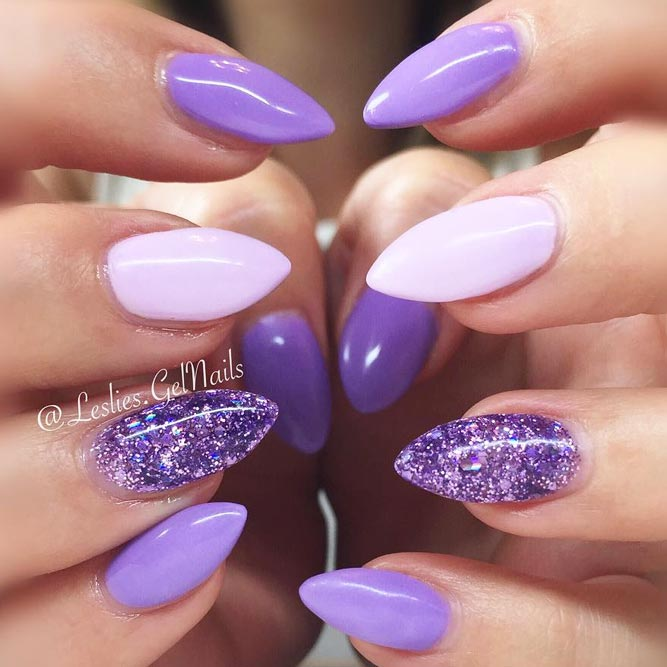 Lovely Purple Nails With Glitter Accent picture 2
