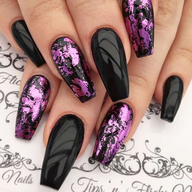 Dazzling Purple Nails With Foil Design picture 1
